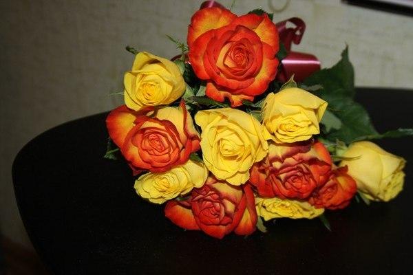 11 желтых и оранжевых роз, перевязанных лентой