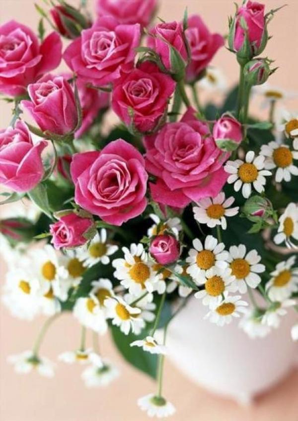Розы с ромашками букет